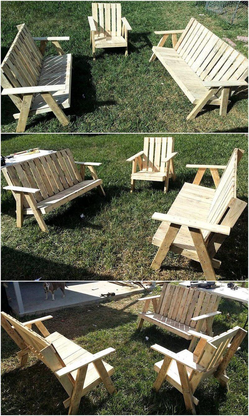 pallets wooden garden furniture