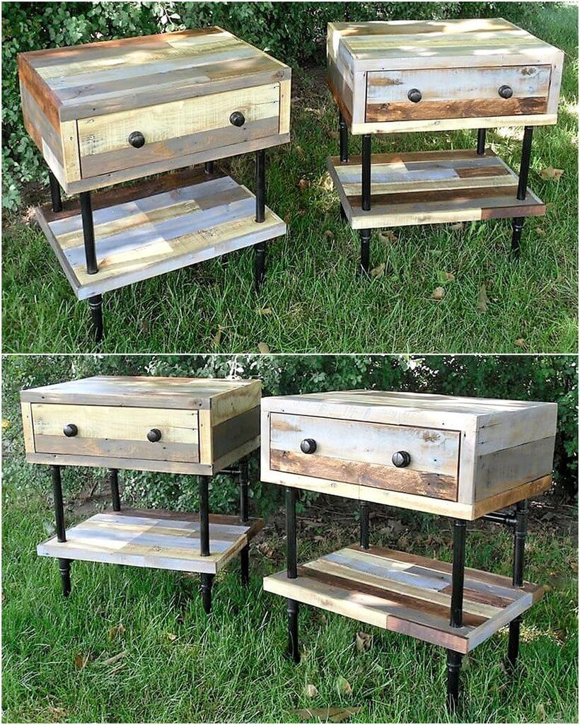 reclaimed wood pallet night stands