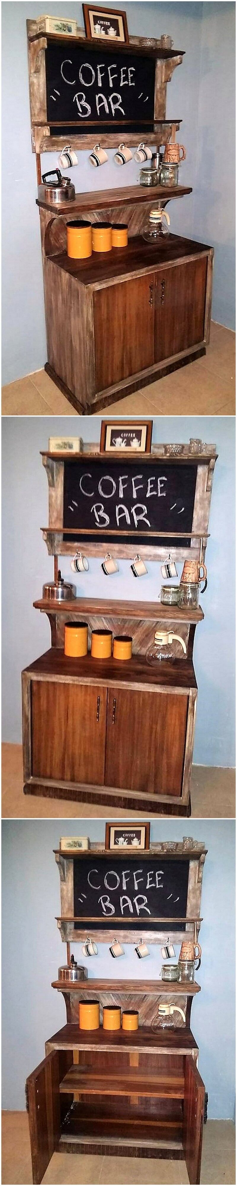 recycled pallets Coffee Bar