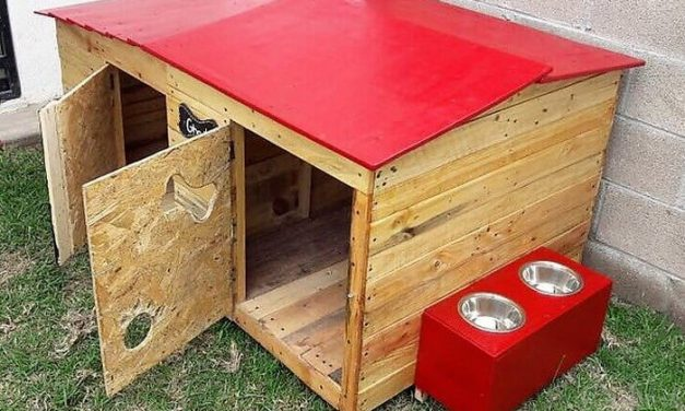 Recycled Wood Pallet Dog House with Food Bowls