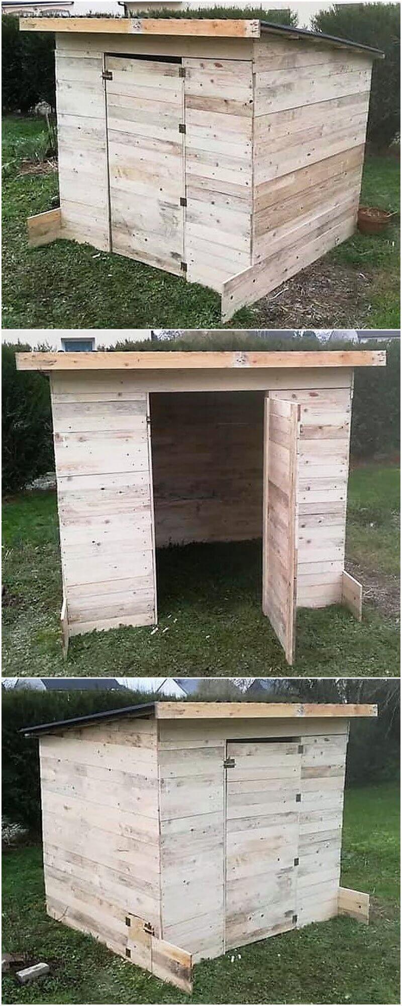 wood pallet garden cabin