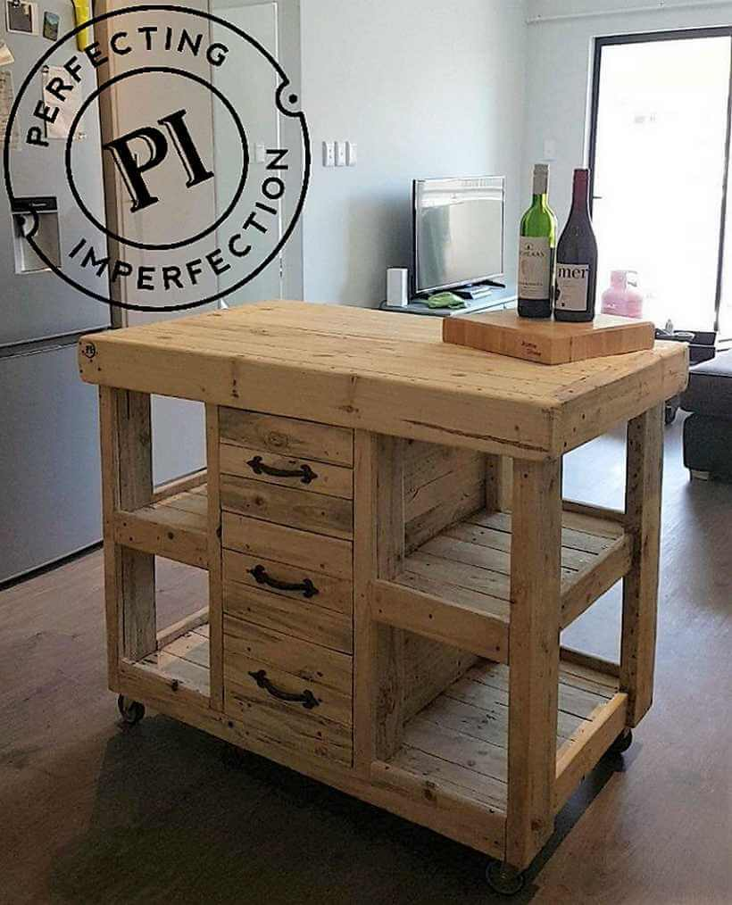 Diy ideas for reclaimed wood pallet projects pallet ideas for Pallet kitchen island plans