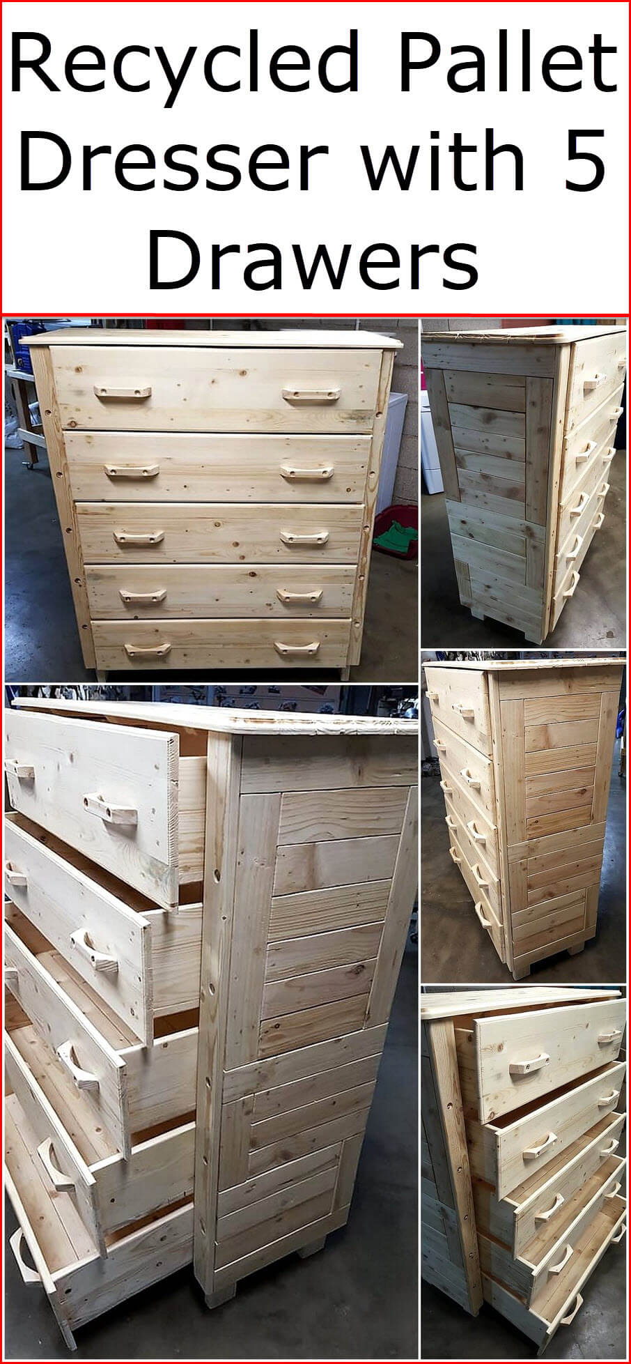 Recycled Pallet Dresser with 5 Drawers
