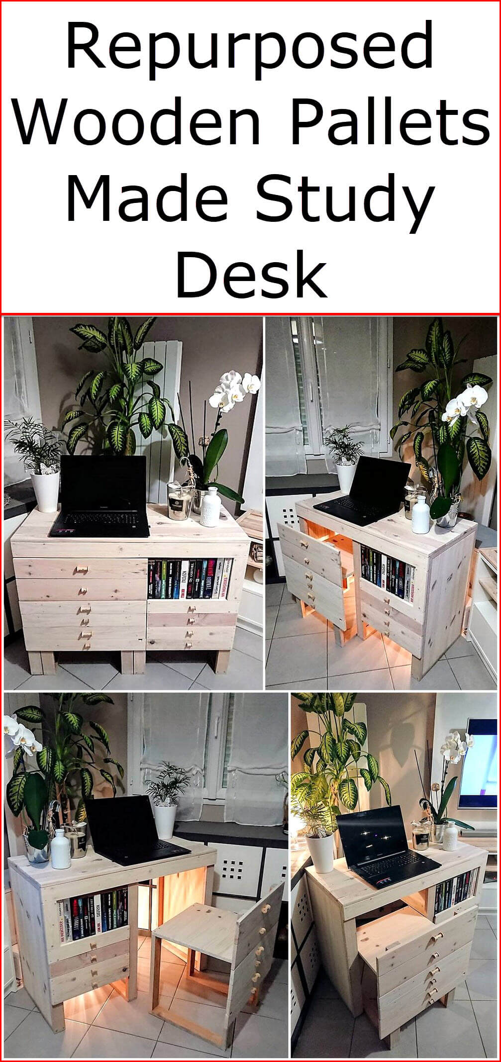 Repurposed Wooden Pallets Made Study Desk