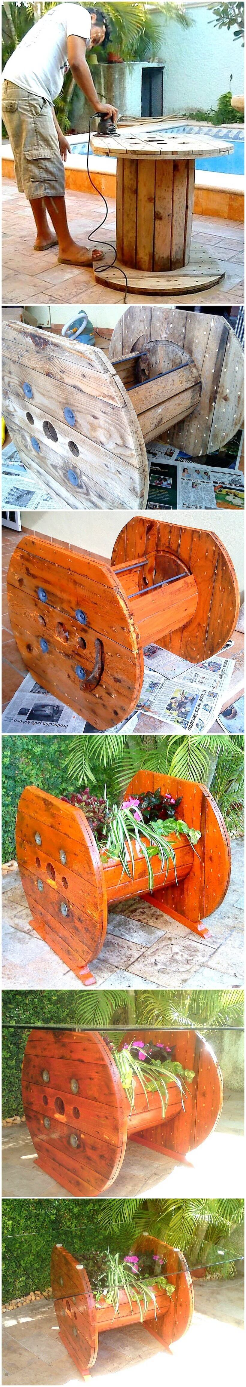 diy pallet cable reel glass top table plan