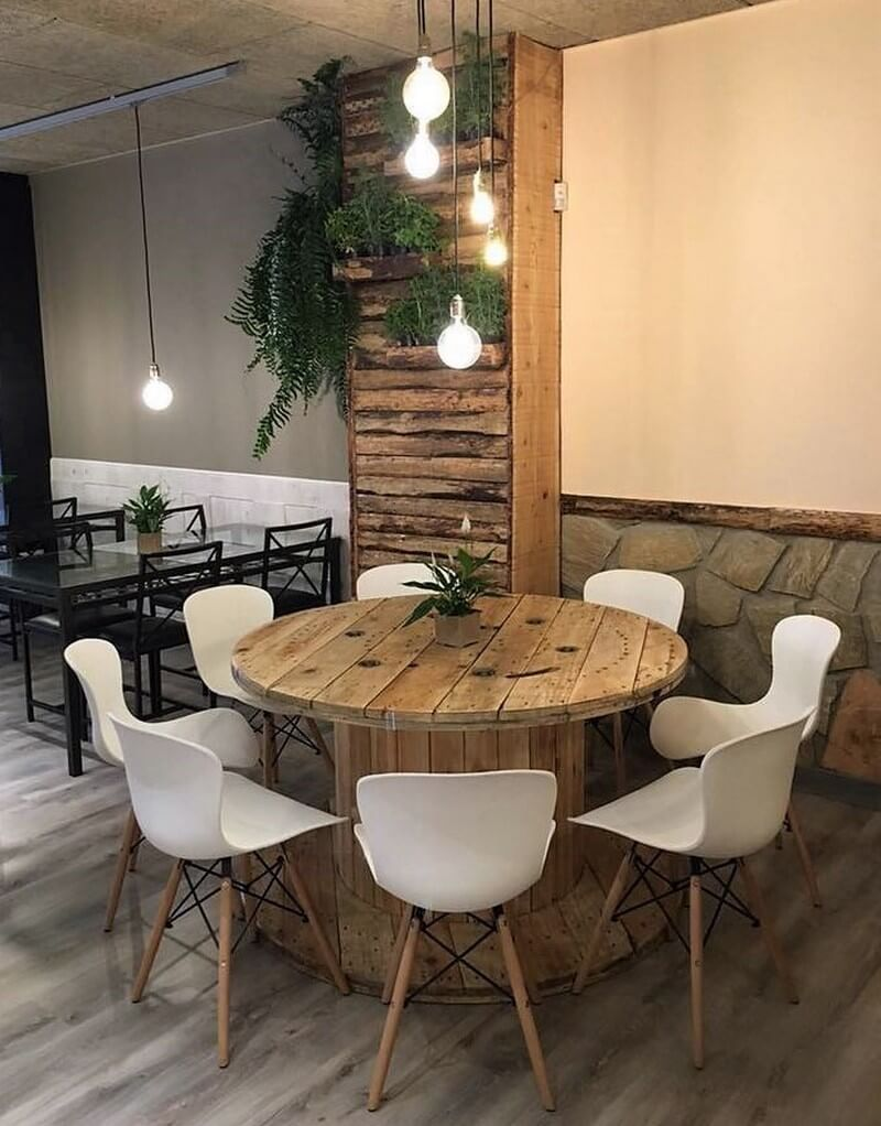 pallet cable reel table and wall art