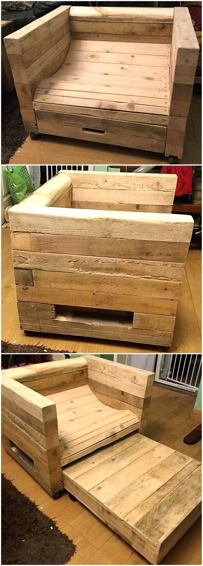 pallet hygge chair with slide out draw