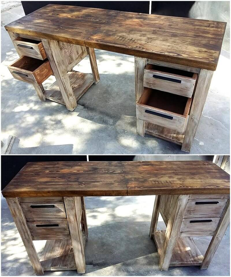 pallet office desk with drawers