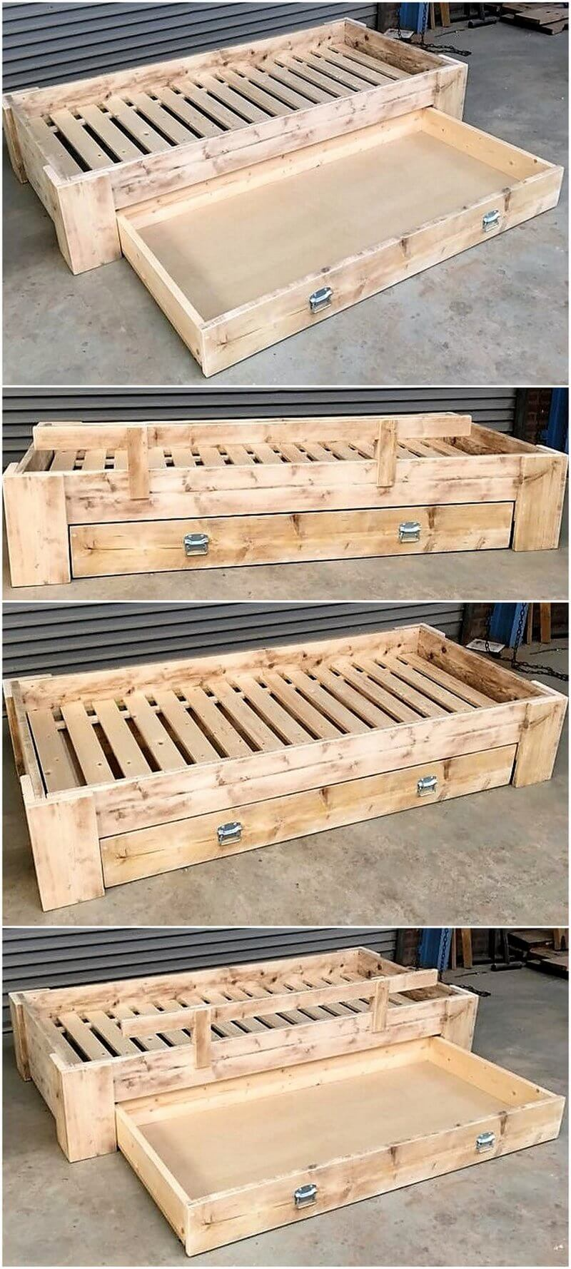 pallet single bed plan with storage