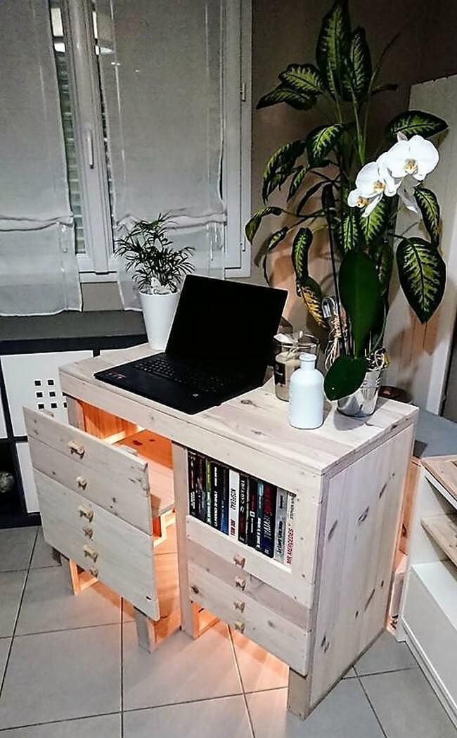pallets made study desk plan