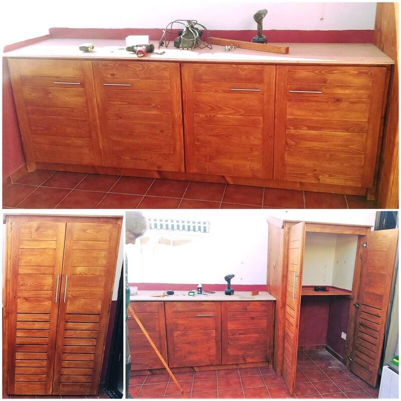 pallets wooden dressing room