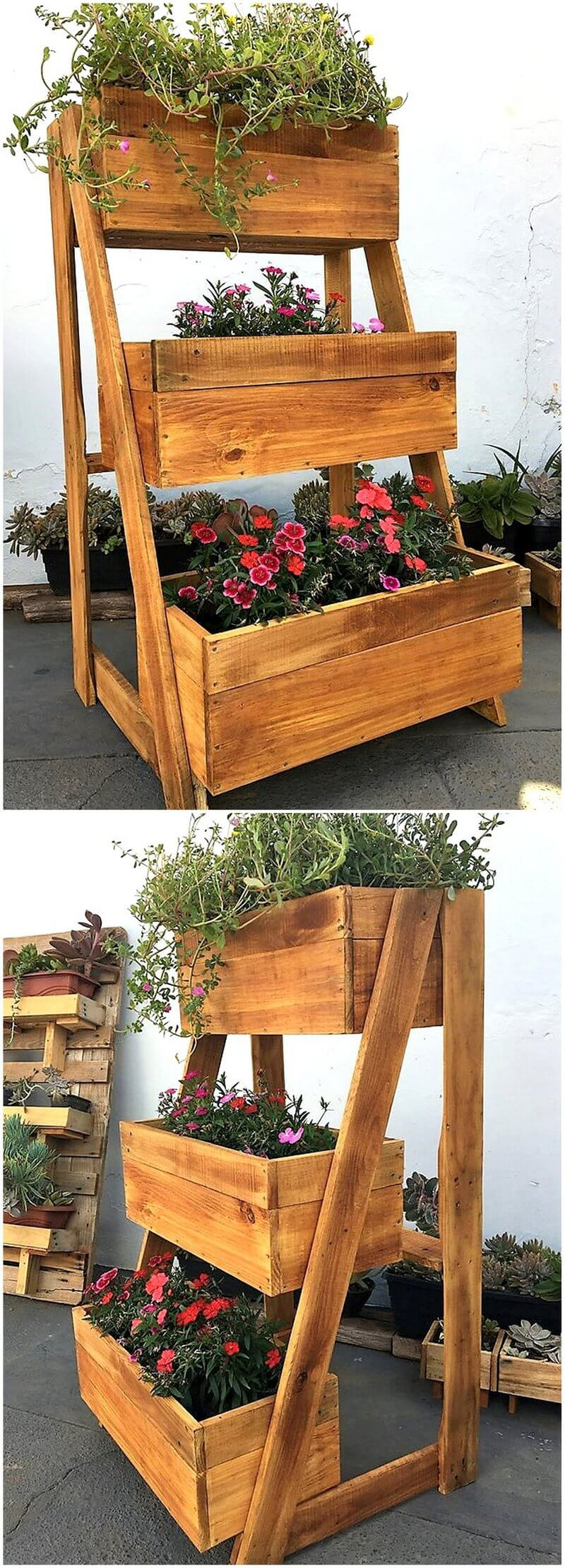 recycled pallet wooden planter
