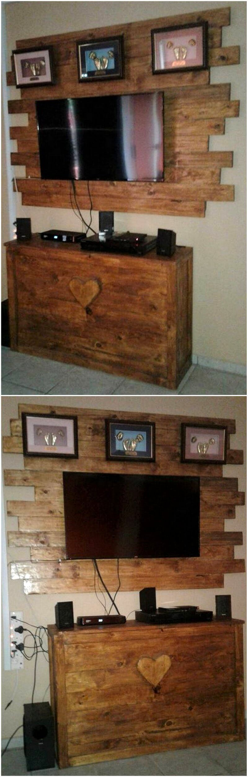 recycled pallets media console