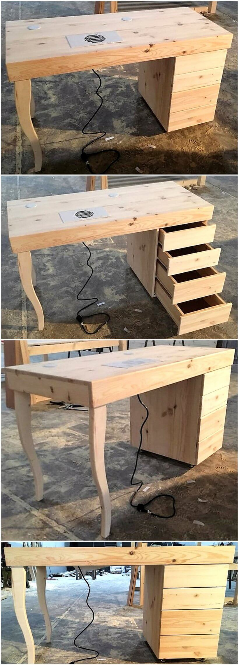 recycled pallets wooden work table
