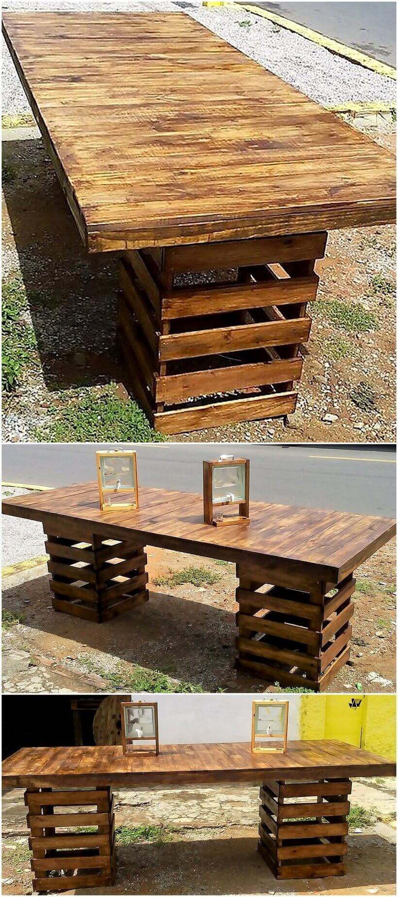 recycled wood pallets dining table