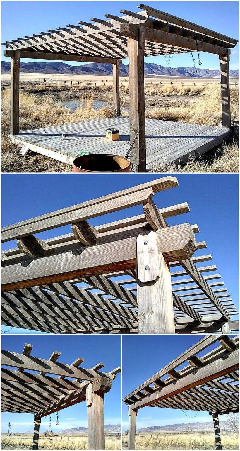 repurposed pallets pergola