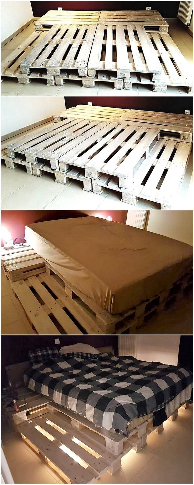 reused pallets made bed with under lights
