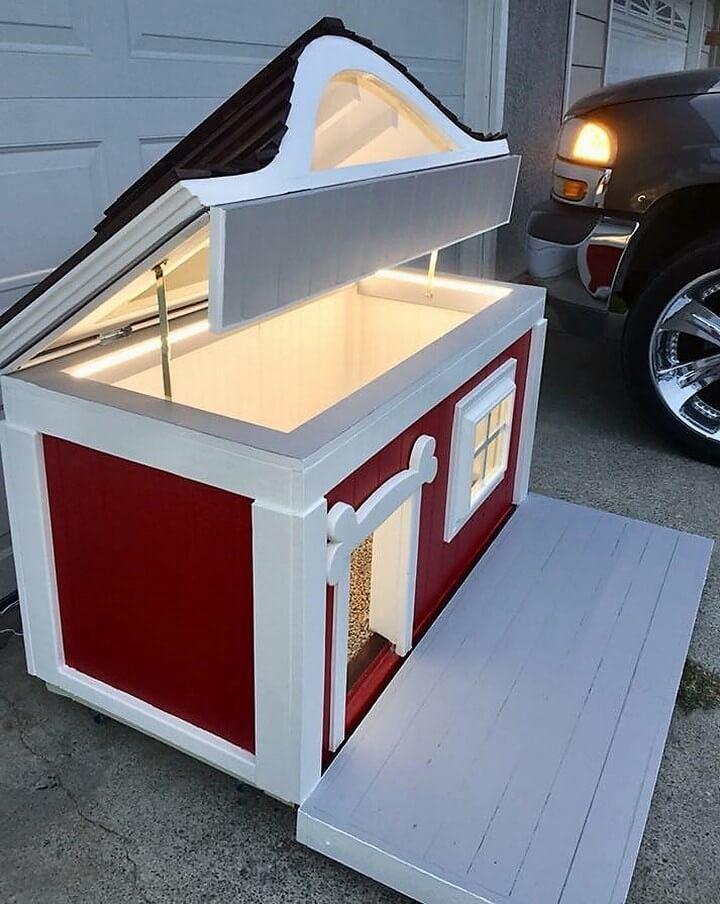 reused pallets made dog house