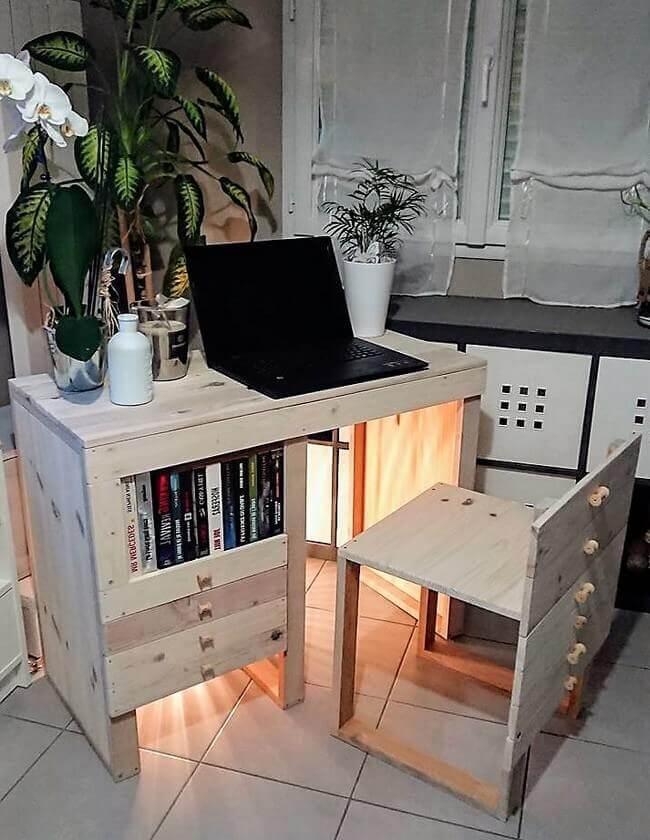 reused pallets study desk
