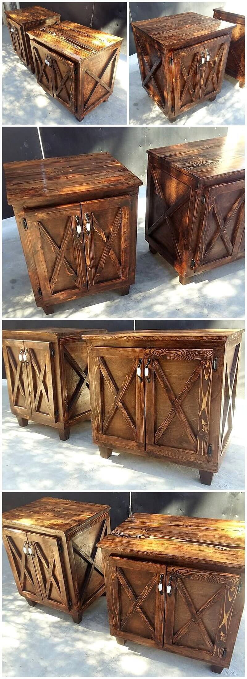 reused pallets wooden rustic night stands