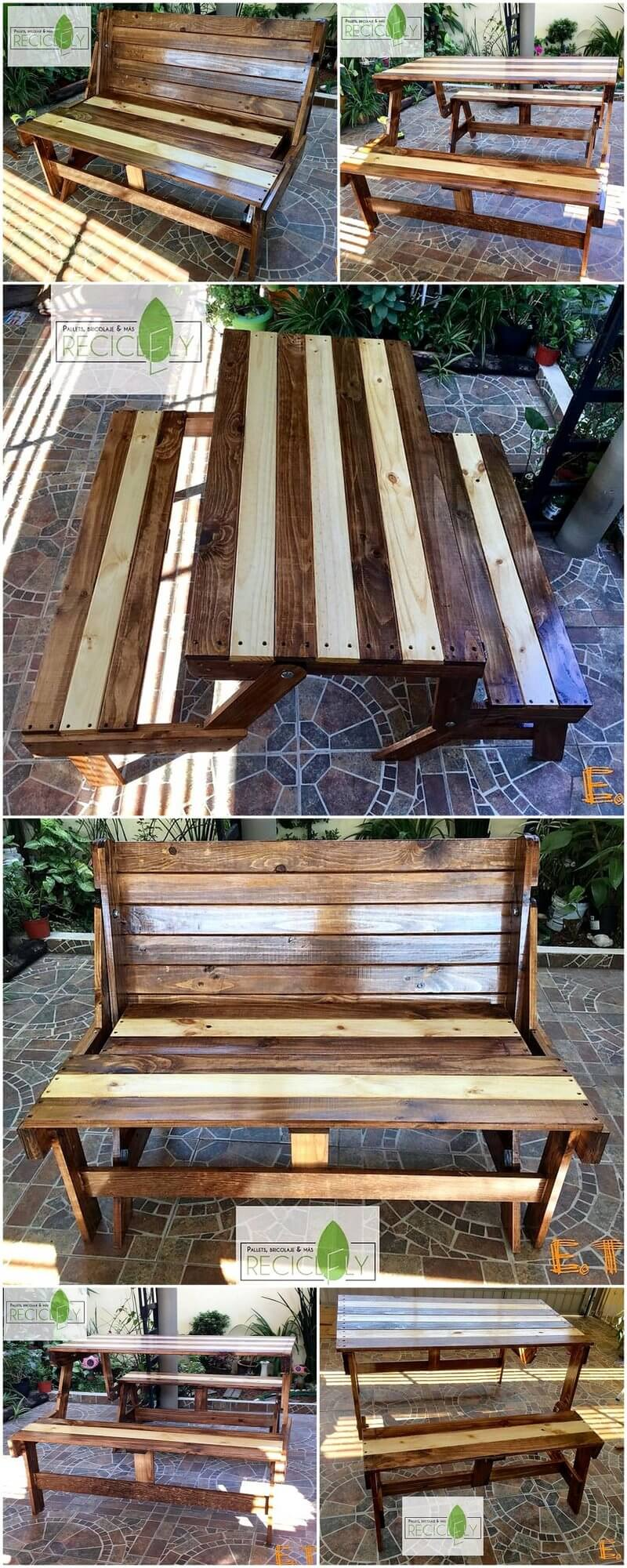reused wood pallet bench