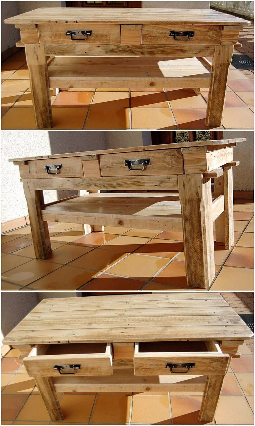 wood pallet rustic entryway table