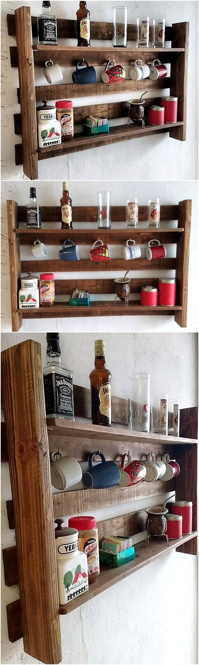 wood pallet rustic kitchen shelf