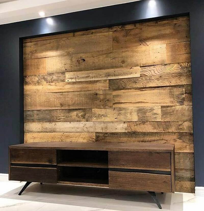 wood pallet wall media console