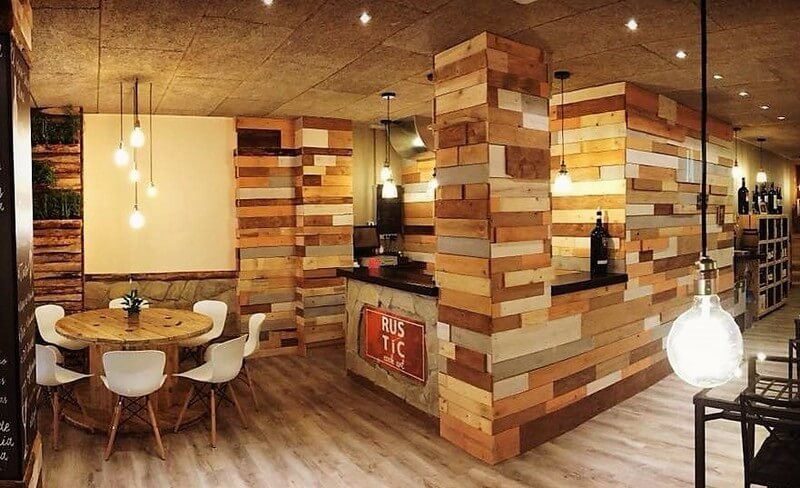 wood pallet wall works in cafe