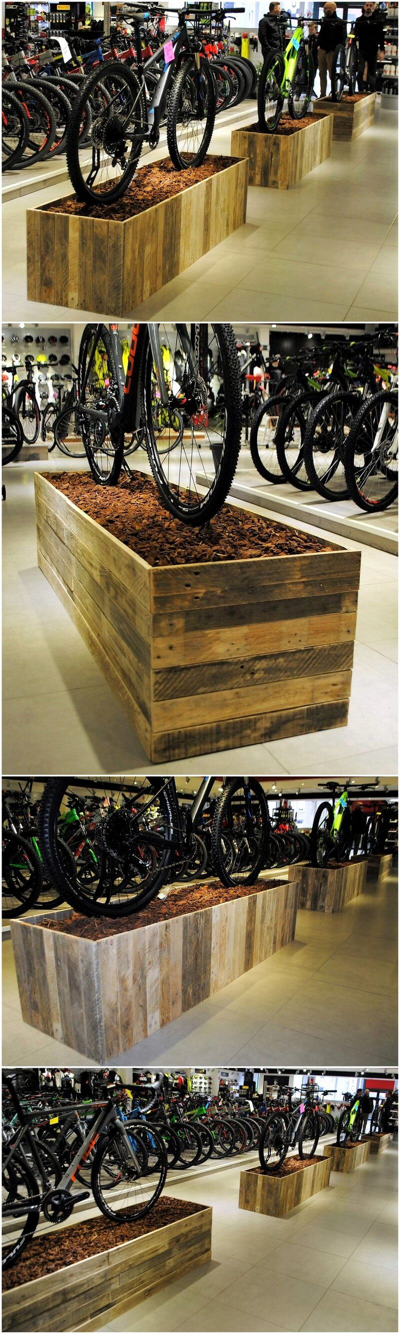 wood pallets made bicycle stands 2