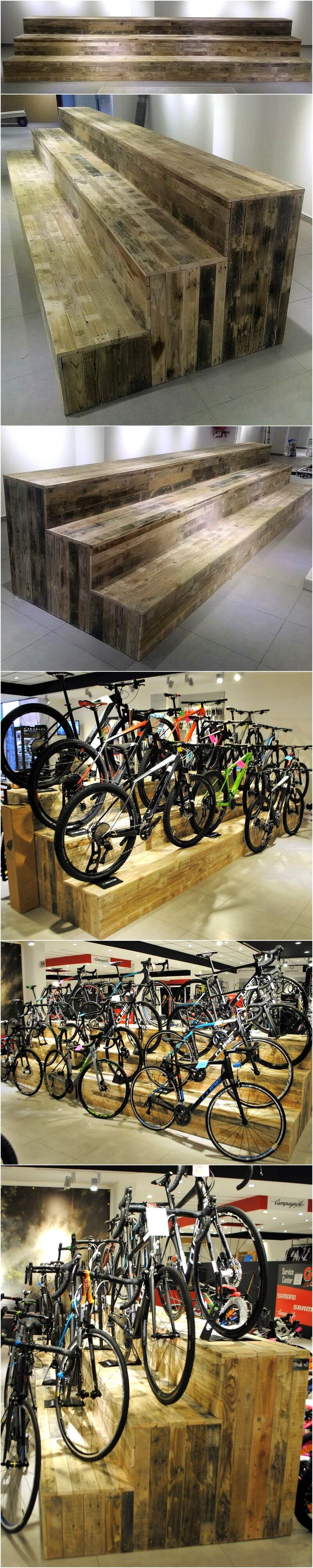 wood pallets made bicycle stands