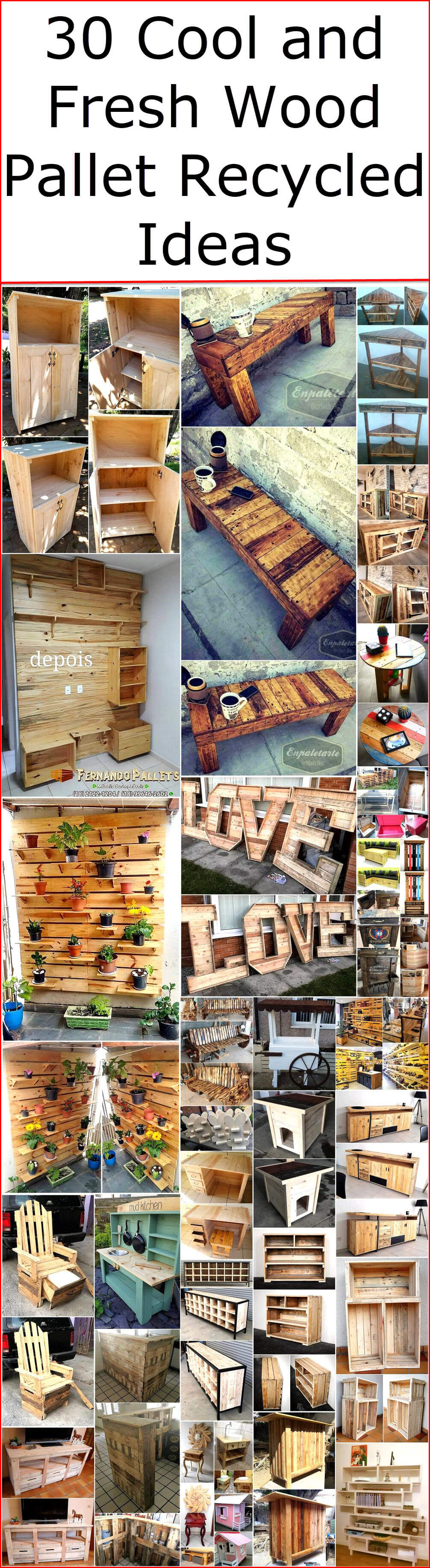 30 Cool and Fresh Wood Pallet Recycled Ideas