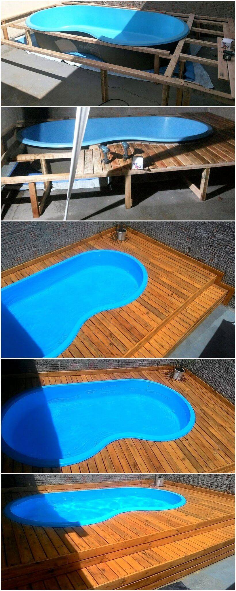 diy pallets made pool deck plan