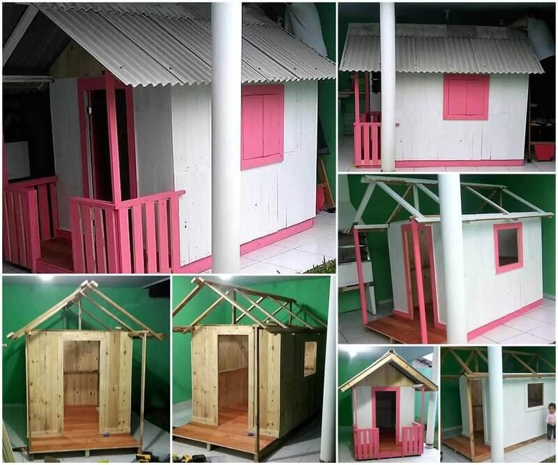 diy pallets wooden kids playhouse
