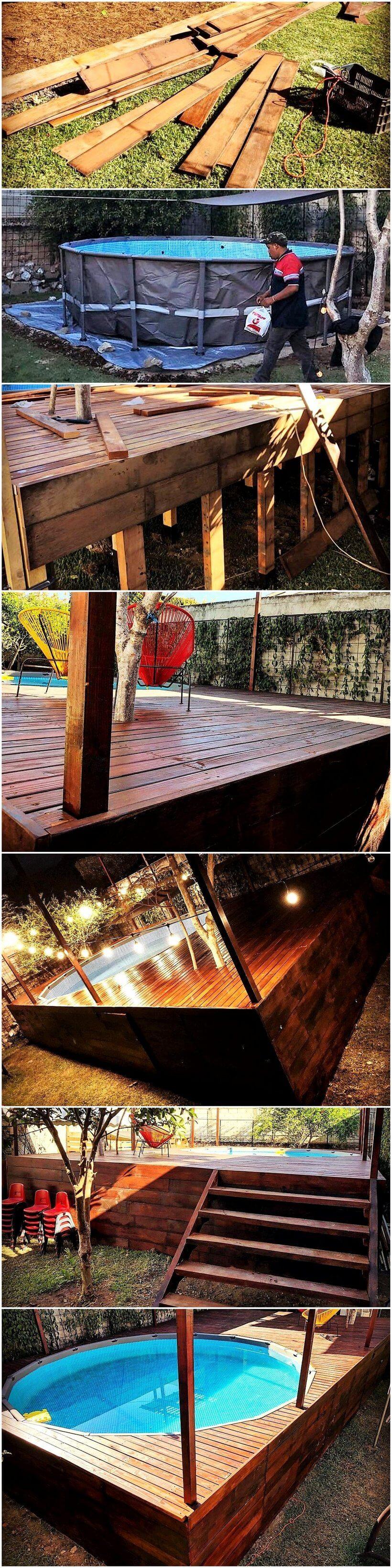 diy wood pallet pool deck