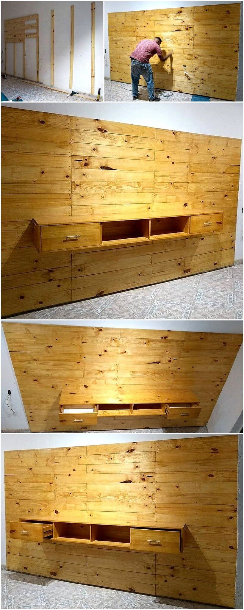 diy wood pallets wall media console