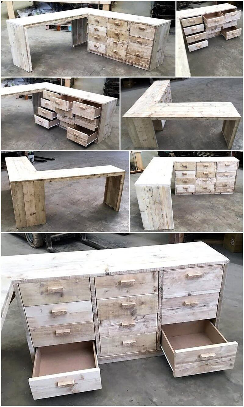 pallet corner desk with drawers