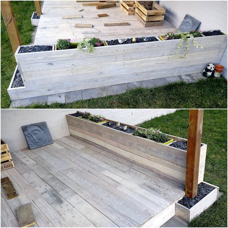 pallet garden deck with planter wall