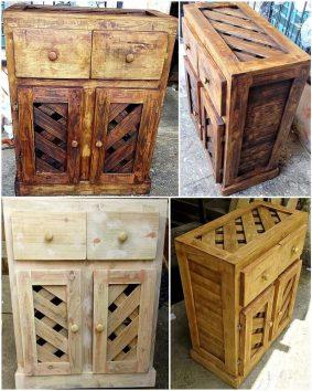 pallet rustic kitchen storage cabinet