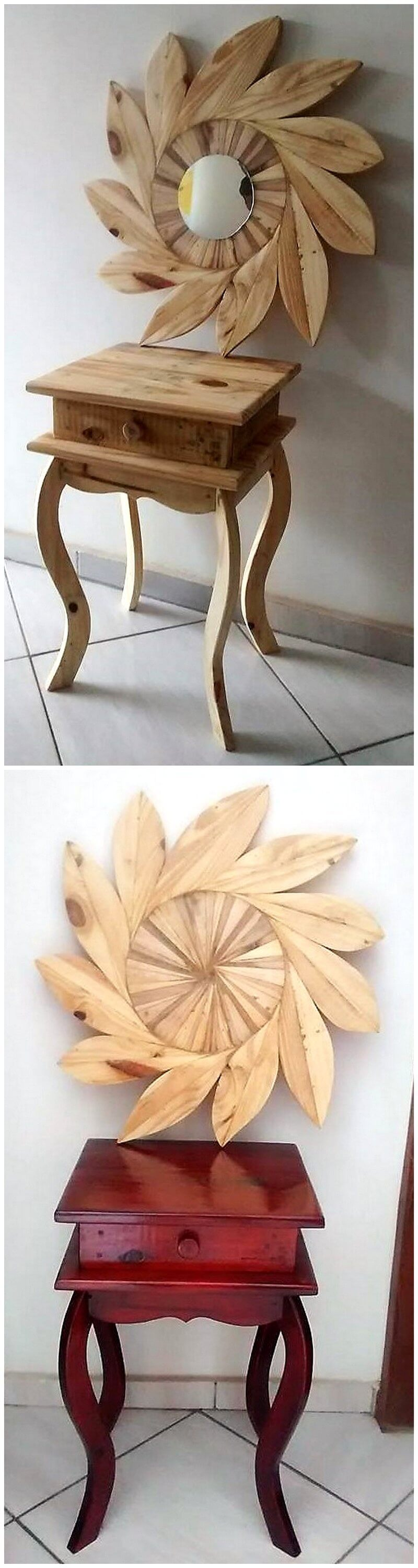 pallet side table with wall art
