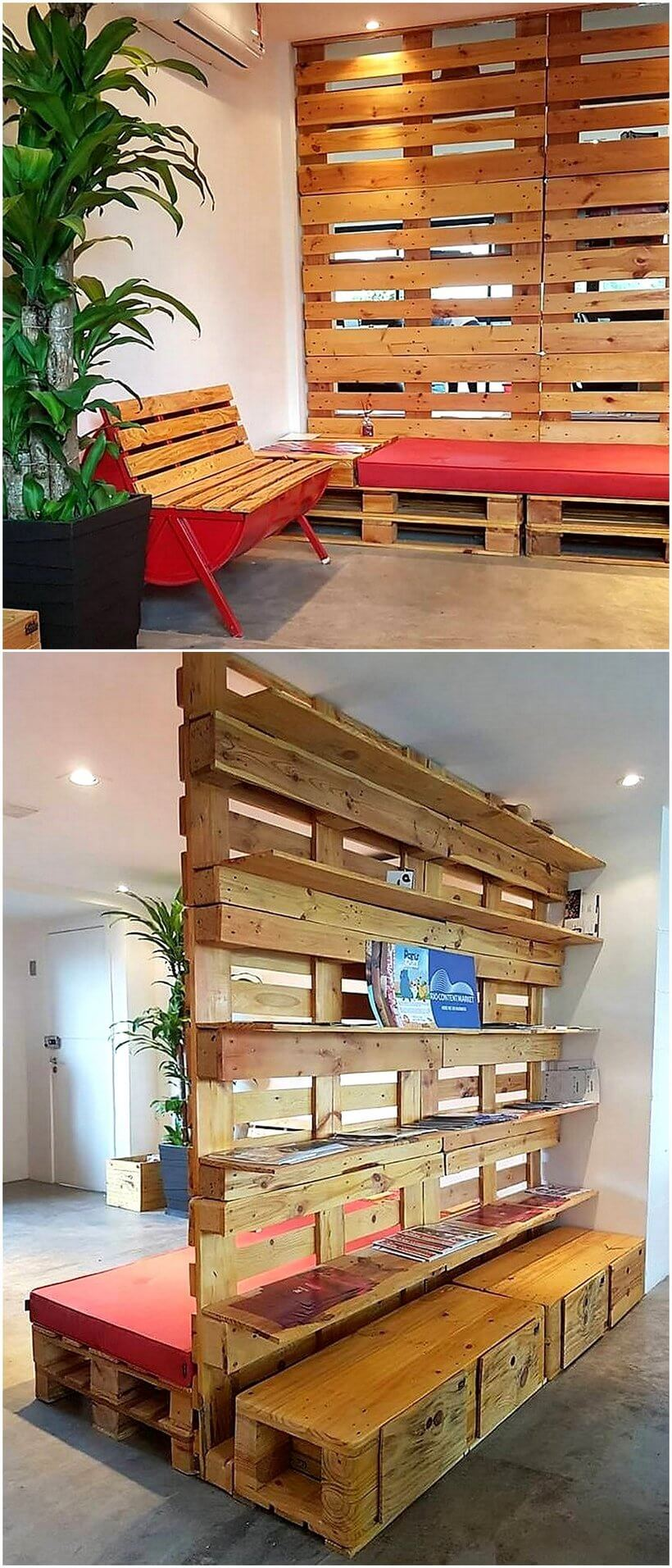 pallet space divider and bench and shelves
