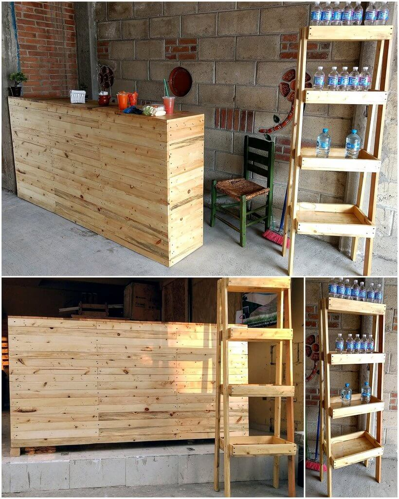 pallets made counter and display rack
