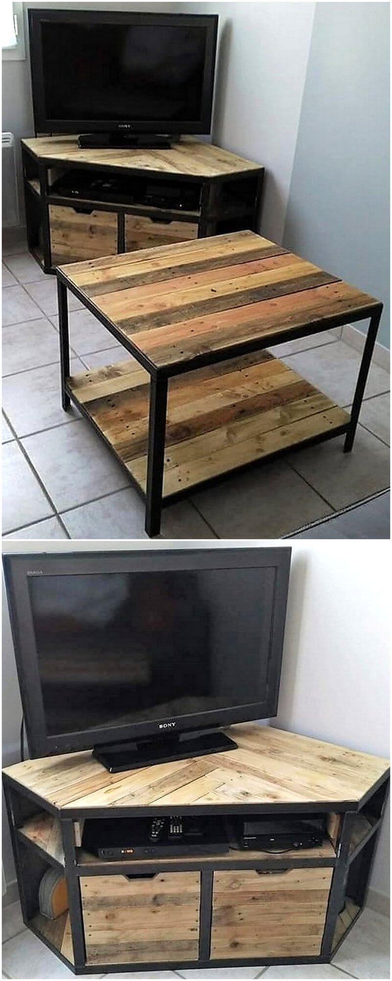 reclaimed wood pallet tv stand and coffee table