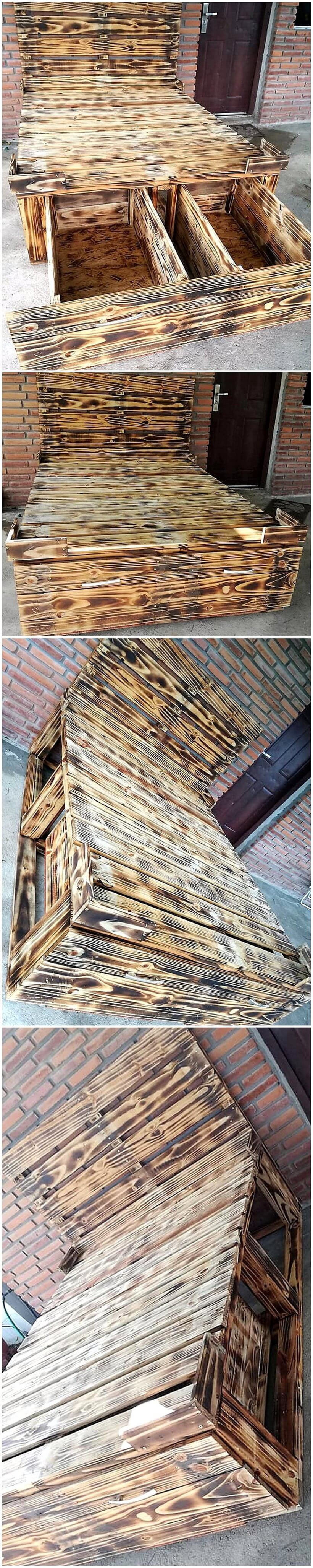 recycled pallets wooden bed