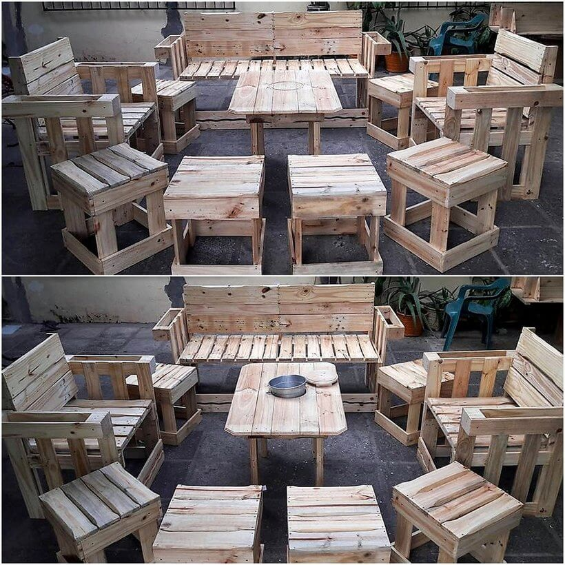 recycled wood pallet lounge plan