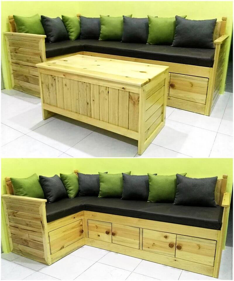repurposed pallet sofa with drawers