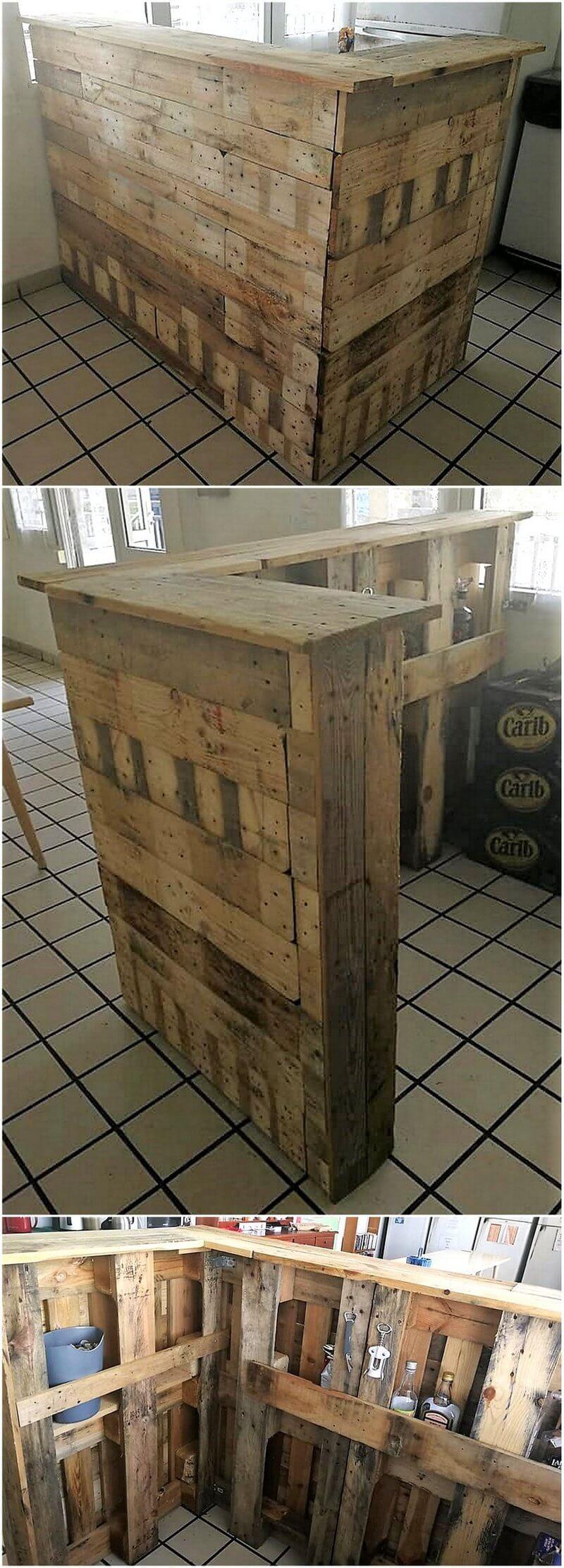 repurposed pallet wood bar