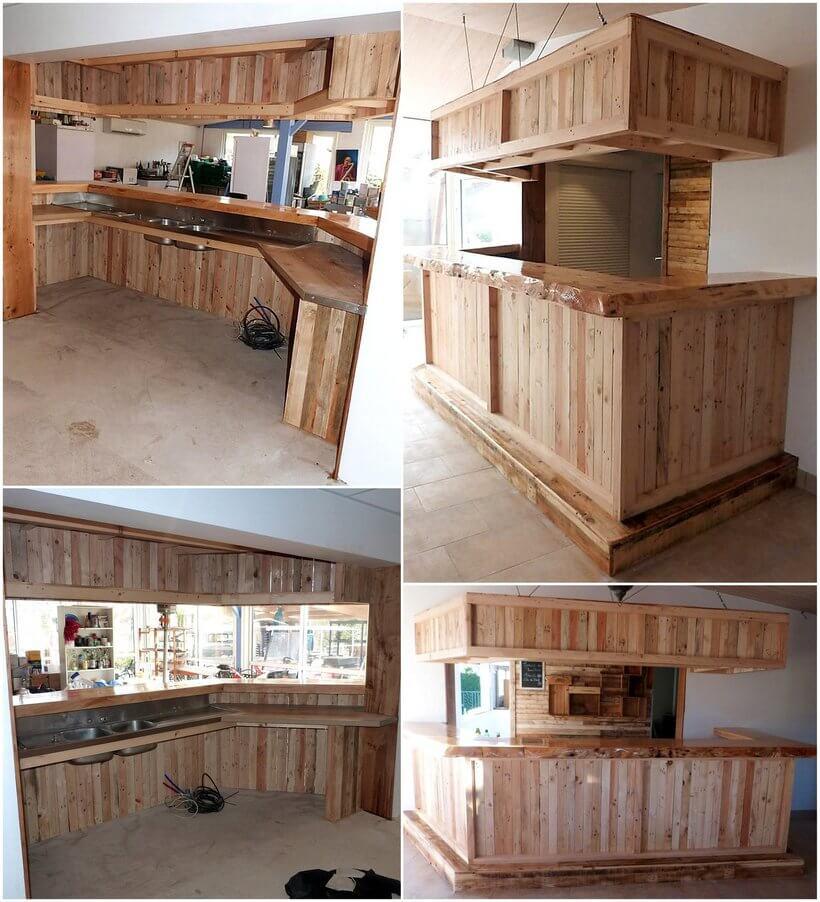 repurposed pallet wooden bar