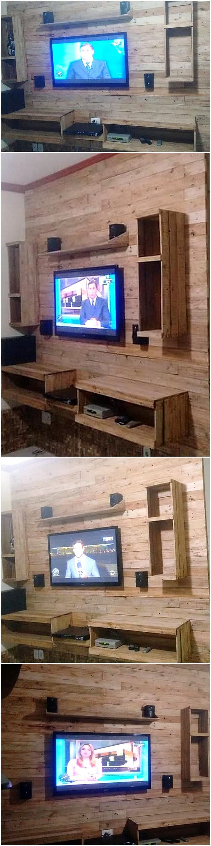 reused pallets wall media console