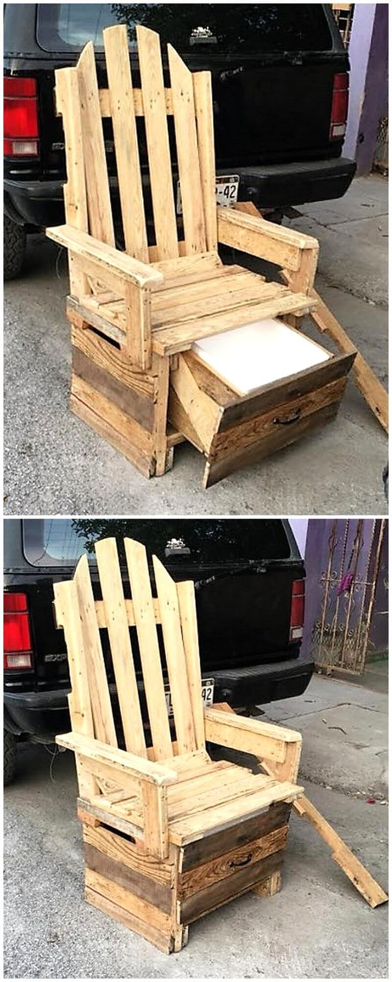 wood pallet chair with bottom cooler idea